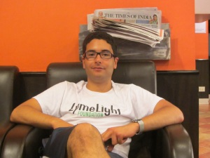 Ari, in India for stem cell sporting his LymeLight T-shirt
